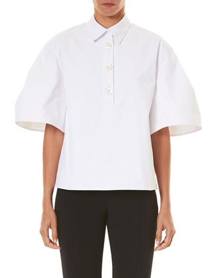 Carolina Herrera Wide-Pleated Polo Shirt