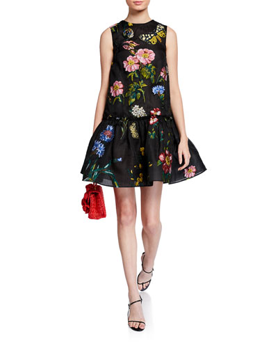 Floral Embroidered Silk Flounce Cocktail Dress