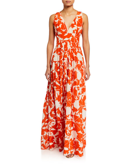 Oscar de la Renta Leaf Print Silk Day Dress