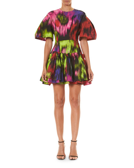 Carolina Herrera Abstract Floral Print Dropped Pleated Dress