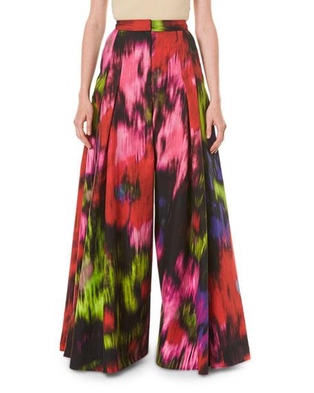 Carolina Herrera Floral Print Cotton-Silk Pleated Wide-Leg Pants