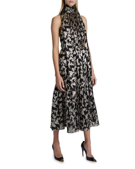 Saint Laurent Floral Print Halter-Neck Dress