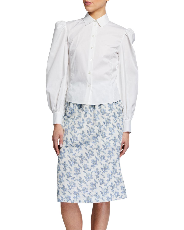 Woven Puff-Sleeve Shirt