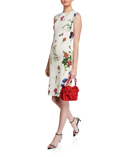 Floral Print Midi Sheath Dress