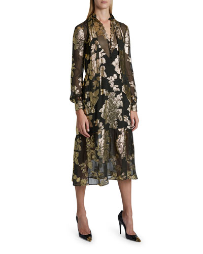 Sheer Floral Fil Coupe Dress