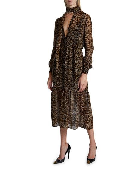 Saint Laurent Leopard Print Gauzy Dress
