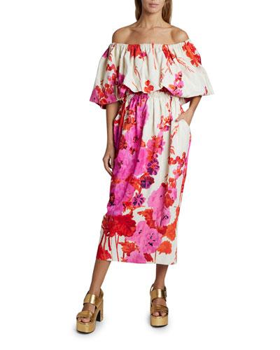 Dayna Off-the-Shoulder Floral Puff-Sleeve Dress