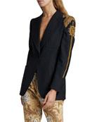 Dries Van Noten Bailey Embellished-Shoulder Single-Breasted