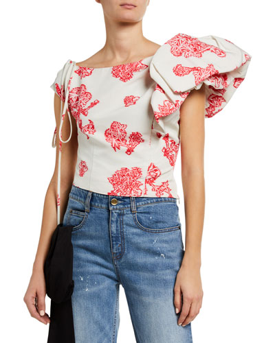 Jazmin Asymmetrical Side Ruffled Blouse