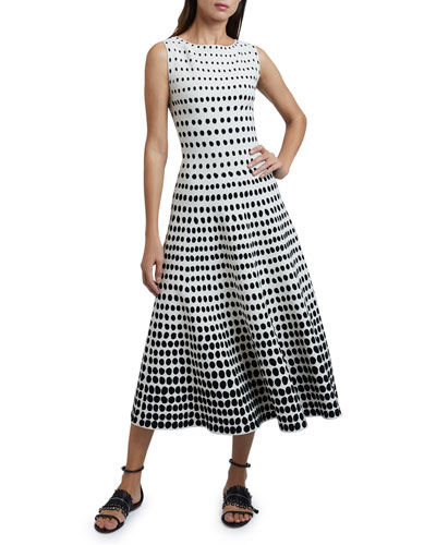 Polka-Dot Sleeveless Boat-Neck Dress