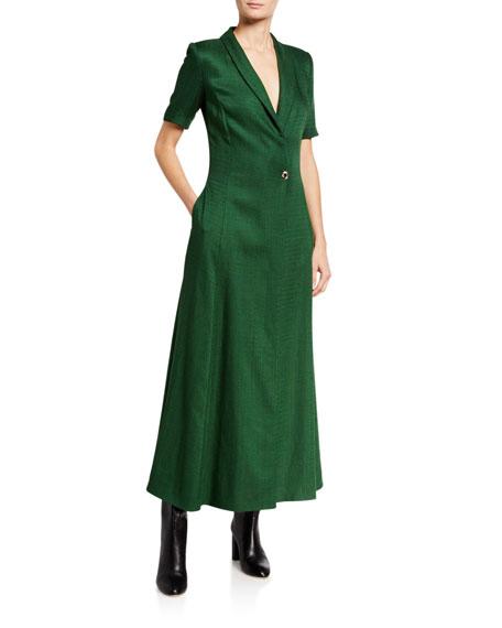 Brandon Maxwell Short-Sleeve Jacket Dress