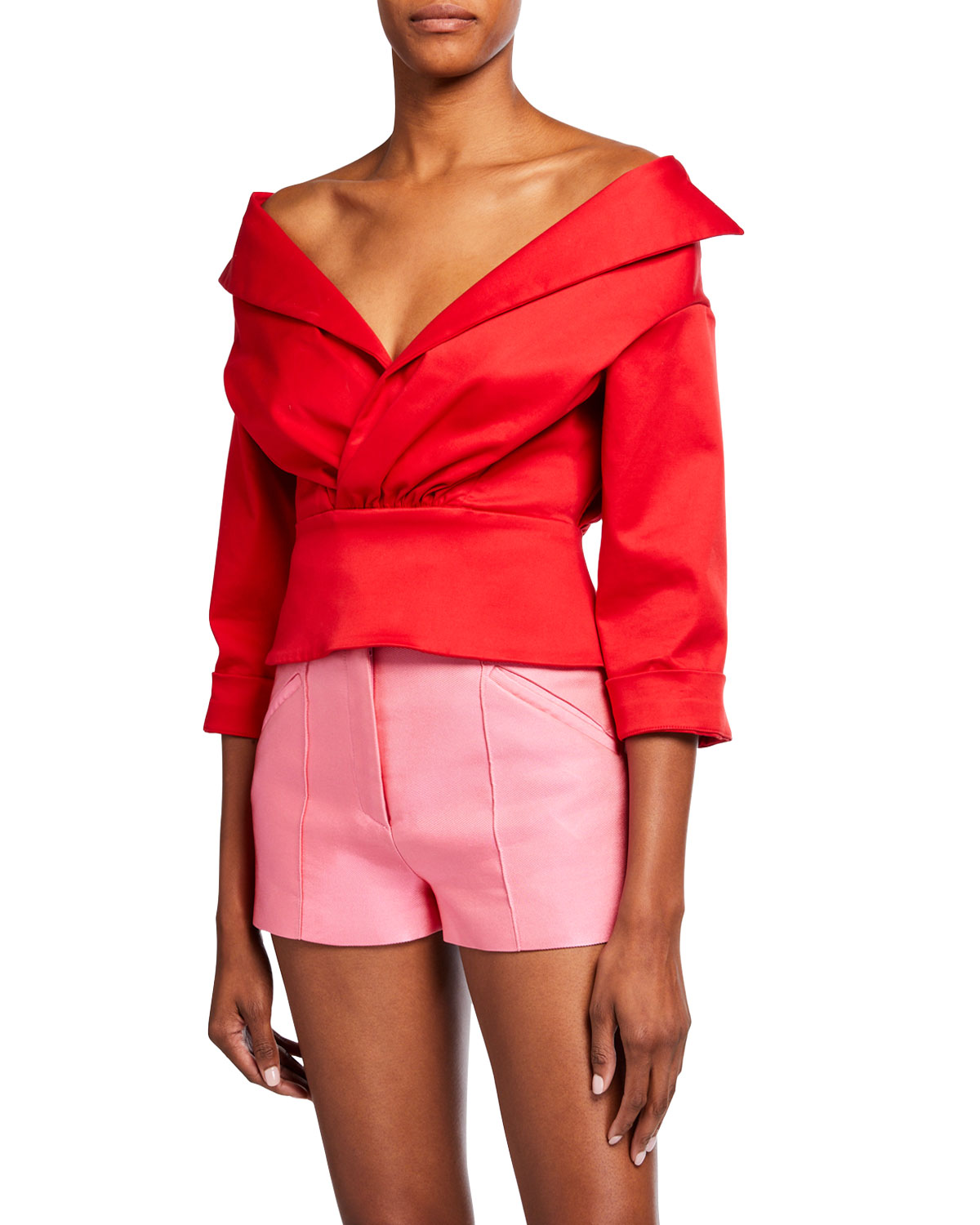Brandon Maxwell OFF-THE-SHOULDER TOP WITH JACKET DETAIL
