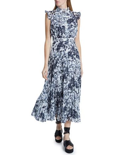 Floral Print Pleated Midi Dress