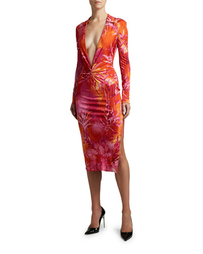 Palm Print Jersey Deep-V Dress