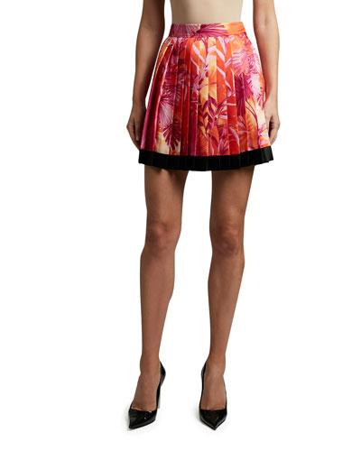 Palm Print Satin Pleated Skirt