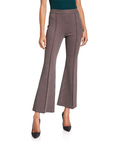 Plaid Pull-On Cropped Flare Pants