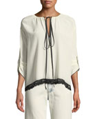 Marc Jacobs 3/4-Sleeve Tie-Neck Silk Blouse w/ Lace