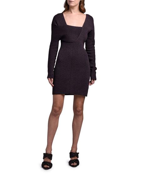 Bottega Veneta Long-Sleeve Silk Ribbed Sweaterdress