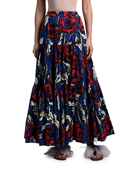 Double J Floral-Print Poplin Tiered Maxi Skirt
