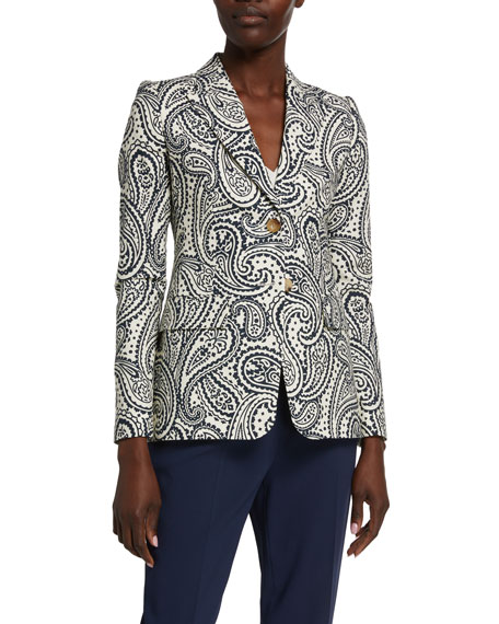 Escada Bick Paisley Stretch-Cotton Blazer