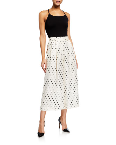 Printed Pleated Culotte Pants