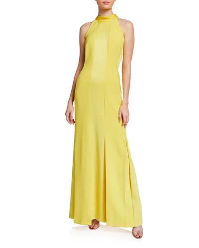 Monochromatic Paneled Halter-Neck Gown