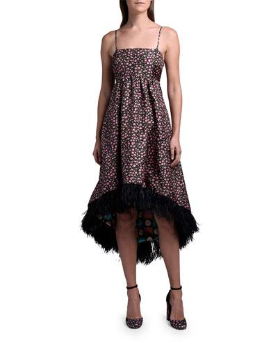 La Scala Dress with Feather Hem