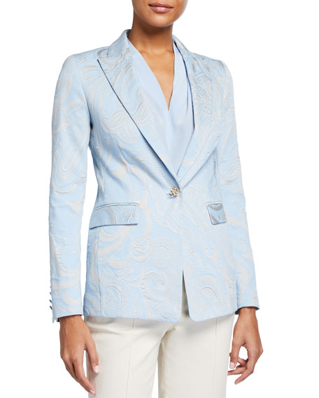 Escada Begaskos Paisley Brocade Jacket