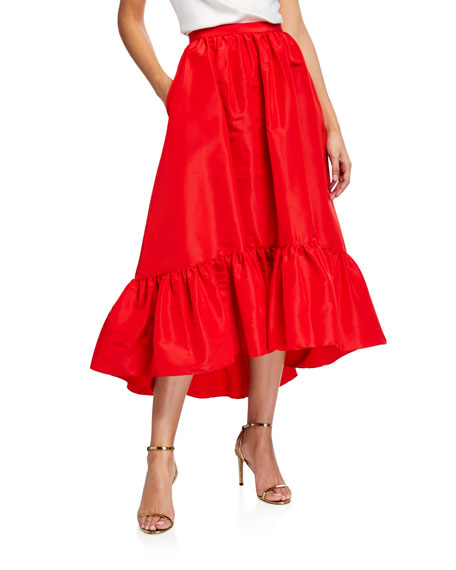 Adam Lippes Faille Ruffled Hem Skirt