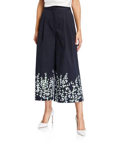Wide-Leg Floral Print Poplin Pants