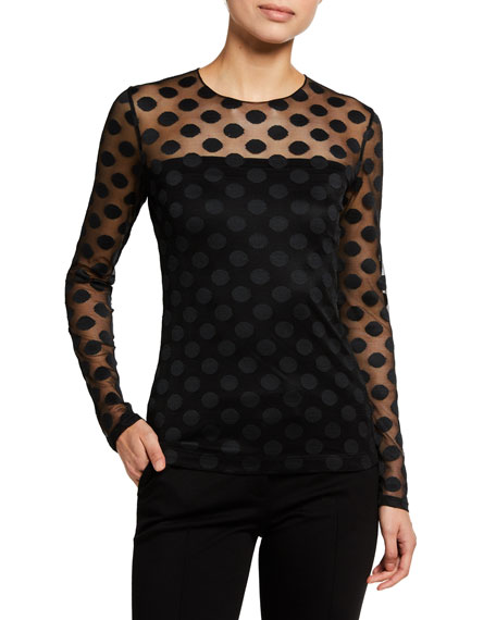 Akris punto Polka Dot Embroidered Long-Sleeve Tulle Top