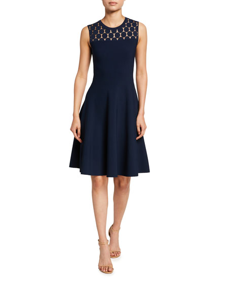 Akris punto Dotted Lace Yoke Sleeveless A-Line Dress