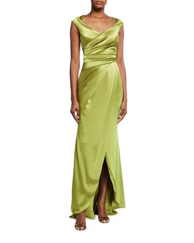 Towanda Wrapped Satin Column Gown