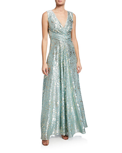 Metallic-Spotted Voile V-Neck Gown