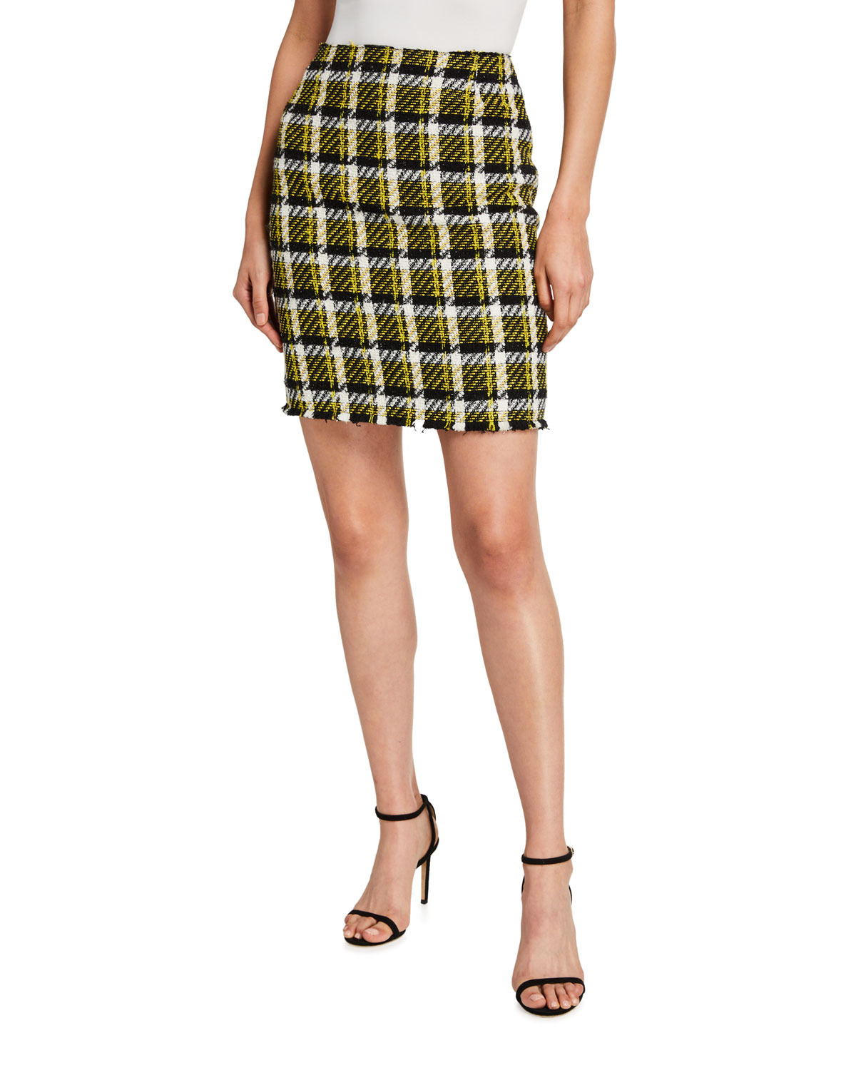 Checked Tweed Pencil Skirt