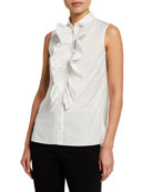 Akris punto Ruffle-Bib Sleeveless Button-Front Collared Blouse