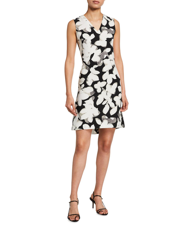 Magnolia Print Peplum-Back Dress