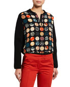 Akris punto Dotted Silk-Front Wool Cardigan and Matching