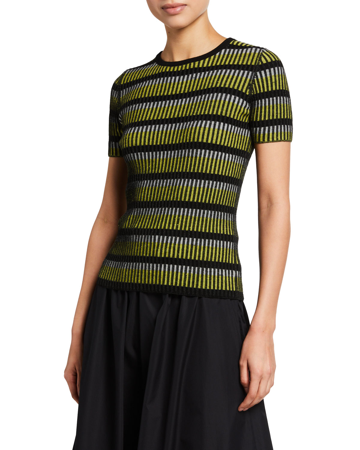 Striped Short-Sleeve Fitted Sweater