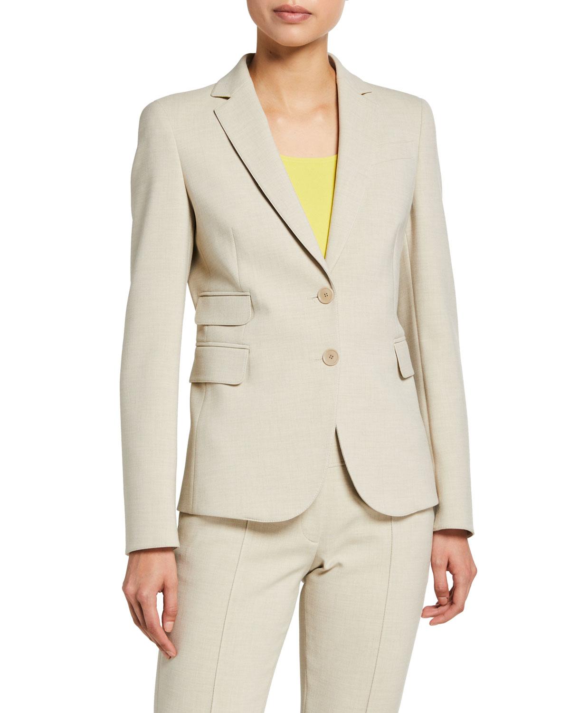 Pebbled Crepe Blazer Jacket