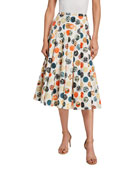 Akris punto Woodblock Print Washed Cotton Midi Skirt