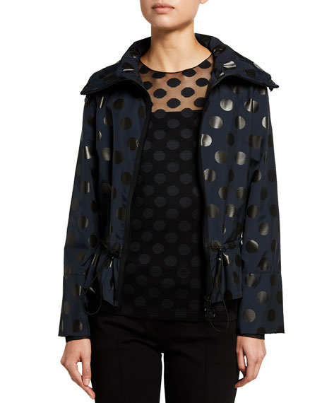 Akris punto Dotted Water-Repellant Hooded Zip-Front Jacket