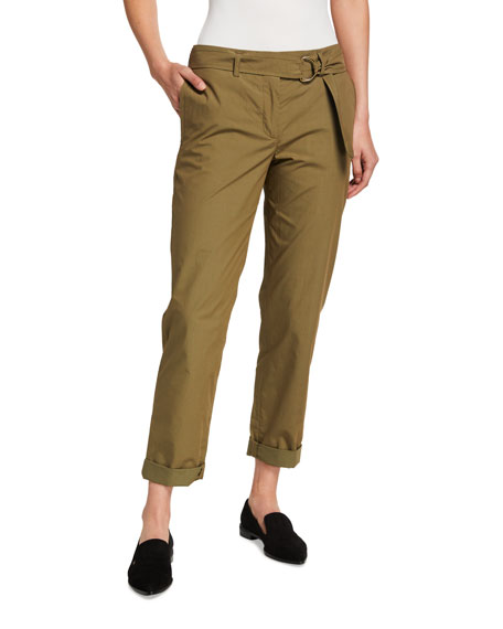 Akris punto Fallon Cotton Paperbag-Waist Chino Pants