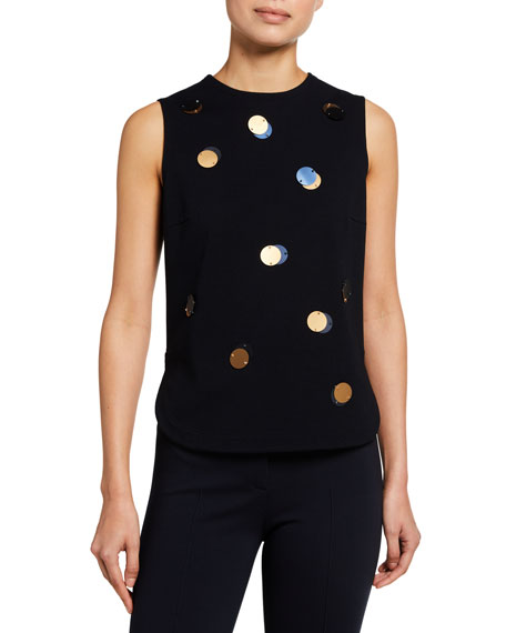 Akris punto XL Sequin Embellished Sleeveless Jersey Top
