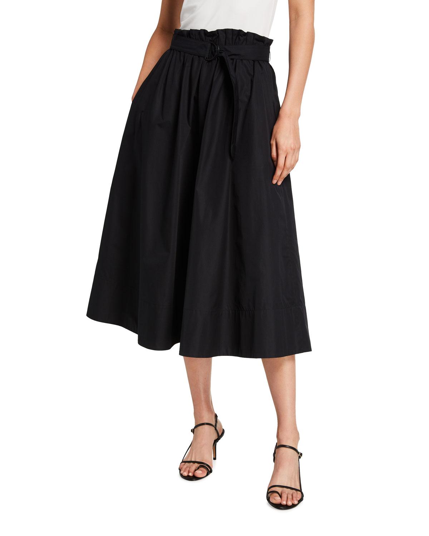 Paperbag-Waist Poplin Midi Skirt