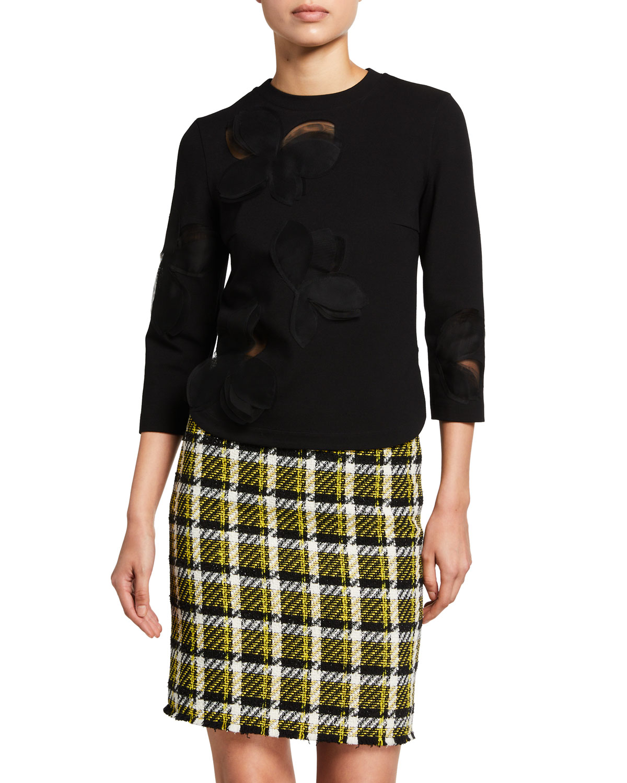 Magnolia-Mesh Signature Jersey Sweater