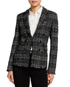 Akris punto Mock Double-Breasted Tweed Blazer