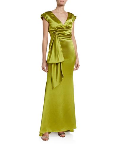 Shiny Crepe Satin V-Back Gown