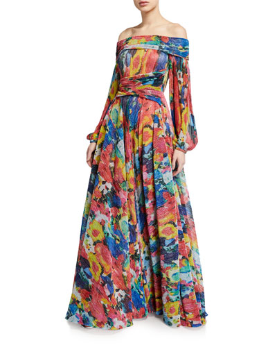Off-the-Shoulder Floral-Voile Big-Sleeve Gown