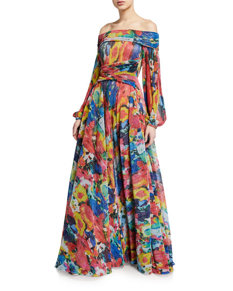 Talbot Runhof Off-the-Shoulder Floral-Voile Big-Sleeve Gown